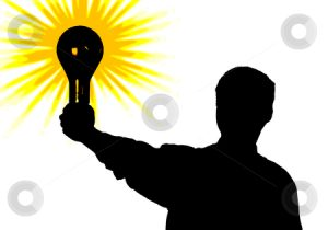 Silhouette of man with bulb - idea in hand. illustration